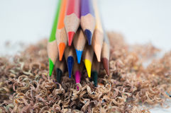 Color pencil shavings. Multi color pencil shavings sharpening Royalty Free Stock Photography