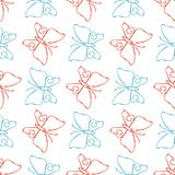 Color pencil sketch butterflies seamless pattern. Color pencil sketch butterflies linear style seamless pattern background. Vector illustration Stock Photo