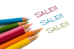 Color pencil with special sale deal Royalty Free Stock Photography