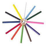 Color pencil in star and cercle concept Stock Image