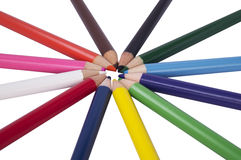 Color pencil in star and cercle concept Stock Photo