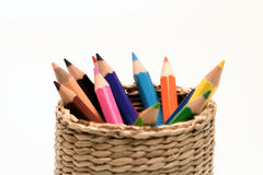 Color pencil stationary. A rainbow of color pencil royalty free stock photo