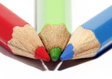Color pencil tip. An image of three colour pencil, red, green & blue joint at its tip stock photo