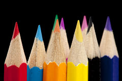 Color pencil tips Stock Photos