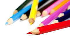 Color pencil tips closeup Royalty Free Stock Photography