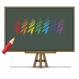 Color pencil Vector illustration on a blackboard background Royalty Free Stock Photo