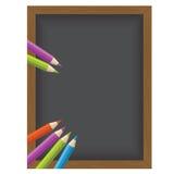 Color pencil Vector illustration on a blackboard background Stock Photo