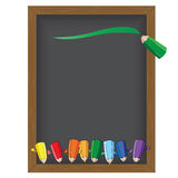 Color pencil Vector illustration on a blackboard background Royalty Free Stock Photos