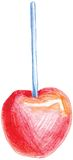 Color pencil vector red apple on stick Royalty Free Stock Images
