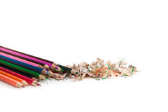 Color pencil whit pencil sharps Royalty Free Stock Photography