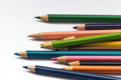 Color pencil on white background Stock Images