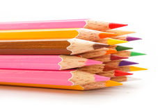 Color pencil on a white paper for background, frame Royalty Free Stock Photo