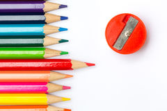 Color pencil on wood table background. Stock Images