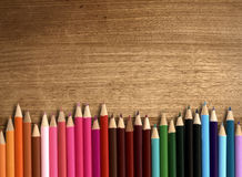 color pencil on wood table Royalty Free Stock Photos