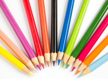 Color pencile in half circle Royalty Free Stock Photo