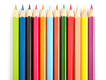 Color pencile in row Royalty Free Stock Photos