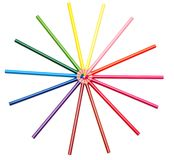 Color penciles on the white background Royalty Free Stock Image