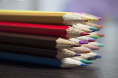 Color Pencills in a Group Stock Photos
