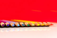 Color Pencils - 1. An assortment of color pencils on white background Stock Image