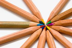 Color Pencils #1. Wooden color pencils royalty free stock photography