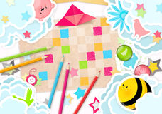 Color Pencils. Top View of a Children Table royalty free illustration