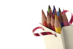 Color pencils. In a bag on a white background Stock Image
