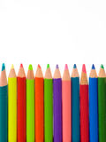 Color Pencils. Row of color pencils Isolated over white Royalty Free Stock Photography