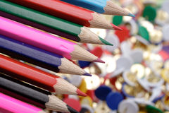 Color pencils. Color background. Office Royalty Free Stock Photography