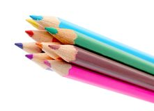 Color pencils. Set of different color crayons isolated on white Stock Photo
