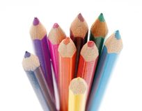 Color pencils. Set of different color pencils isolated on white Royalty Free Stock Photo