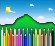 Color pencils. Illustration of colored pencils background Royalty Free Stock Image