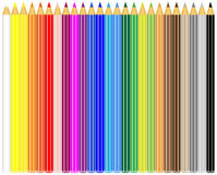 Color pencils. A set of 25 color pencils on white background Royalty Free Stock Photo