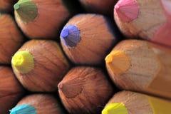 Color pencils. Macro picture of Various color pencils facing camera stock image
