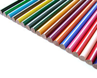 Color pencils. Set fragment on white Royalty Free Stock Images