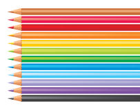 Color pencils. 12 color pencils over white background Stock Image