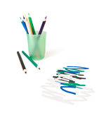 Color pencils. For drawing in a glass on a white background royalty free stock images