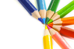 Color pencils. Curve Multi Color pencils isolated Royalty Free Stock Photography