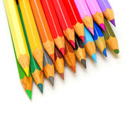 Color pencils. Assortment of color pencils isolated on a white background Stock Images