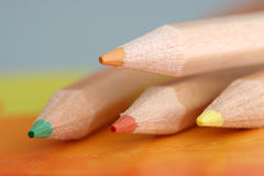 Color Pencils. Few color pencils put on table Stock Images