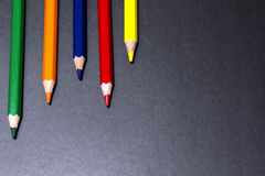 Color pencils. This is color pencils on black background, it is theme of art Royalty Free Stock Images