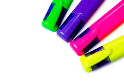 Color pencils. Color felt-tip pens green, dark blue, yellow, red markers Royalty Free Stock Image