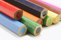 Color Pencils. Closeup of The Ends of Color Pencils royalty free stock photography