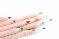Color pencils. A set of color pencils against white background Stock Photos