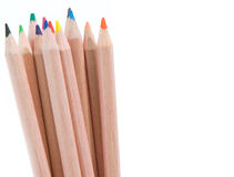 Color pencils. Close up of a set of colour pencils against white background and room for type royalty free stock image