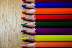 Color pencils. On table it's isolate Stock Photo