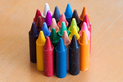 Color pencils. Close view of big and colorful pencils for baby stock photo