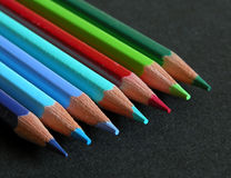 Color Pencils. On a black background Stock Photos