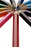 Color pencils. Color wheel.Colors on white Stock Photography
