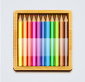 Color pencils. Vector illustration of wooden box of color pencils Royalty Free Stock Photography