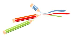 Color pencils. Green, red and blue pencils on a white background Royalty Free Stock Photography